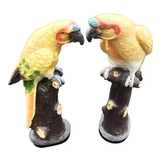 Vintage Chinese Parrot Figurines - a Pair For Sale