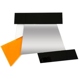 Ettore Sottsass 2007 Geometric Prism Black White Orange Mirror for Glas Italia For Sale