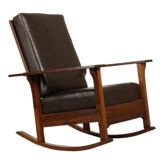 Antique Mission Oak Brown Leather Morris Rocker For Sale