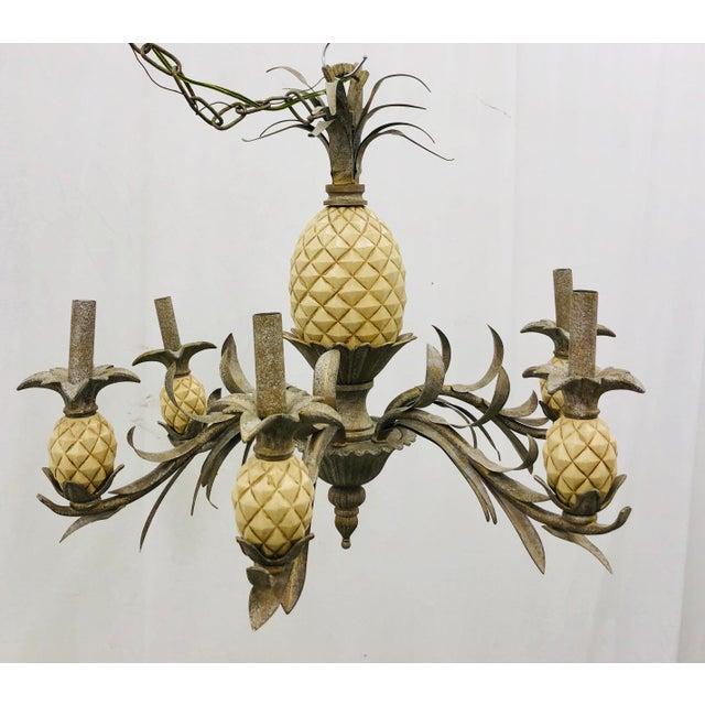 Green Vintage Pineapple Chandelier For Sale - Image 8 of 8