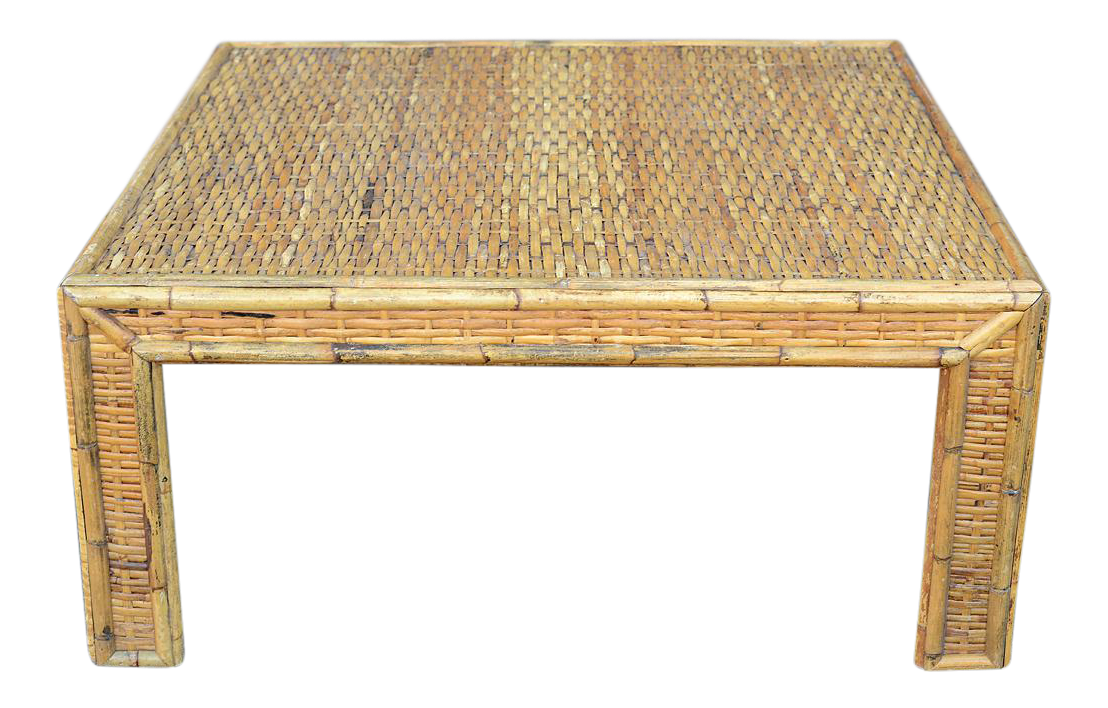 Mid Century Minimalist Woven Bamboo Rattan Square Coffee Table