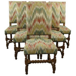 Dining Chairs Renaissance Set 6 French 1930 Oak For Sale