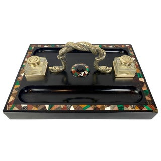 Pietra Dura Inkstand with Malachite for a Partner's Desk For Sale