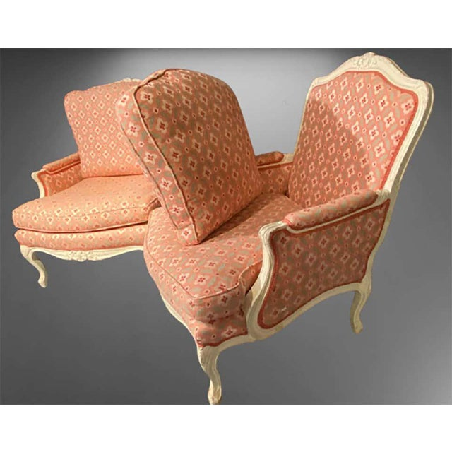 1940s Louis XVI Painted Bergère or Lounge Chairs, Scalamandre Upholstery - a Pair For Sale - Image 5 of 13