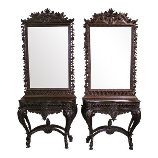 Portuguese Carved Chestnut Consoles and Mirrors - a Pair For Sale