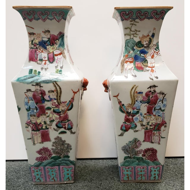 Ceramic Circa 1910 Chinese Famille Rose Export Porcelain Warrior Motifs Club-Form Vases - a Pair For Sale - Image 7 of 7