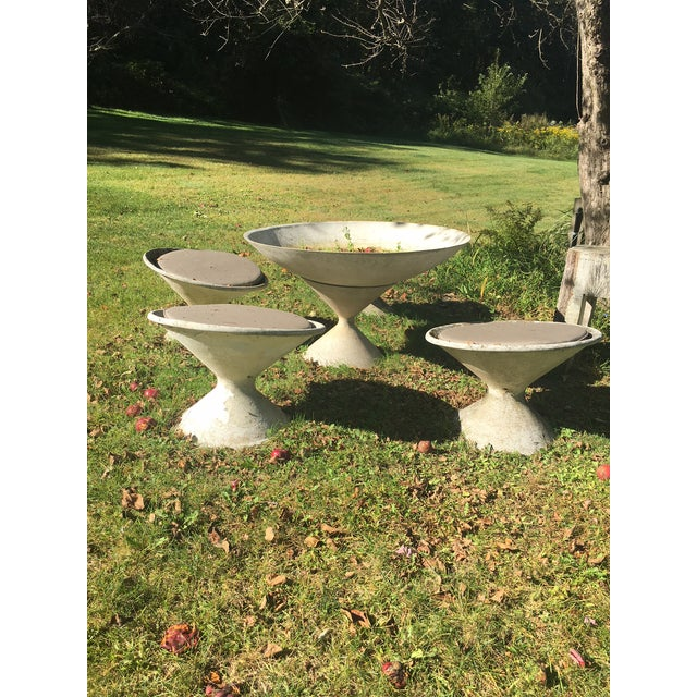 Willie Guhl Concrete Garden Planters And Larger Planter With Inset