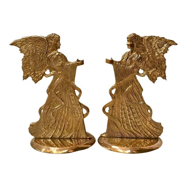 Vintage Brass Angel Candle Holders - a Pair For Sale