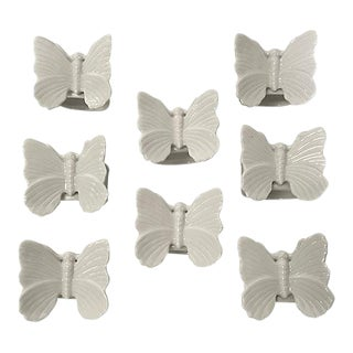 Fitz & Floyd Butterfly Porcelain Napkin Rings - Set of 8 For Sale