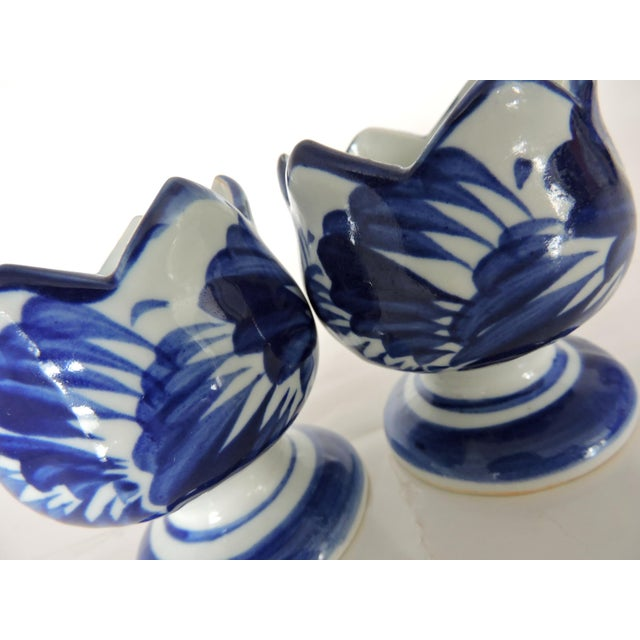 1980s Blue & White Asian Pottery Candle Holders - A Pair For Sale - Image 5 of 6