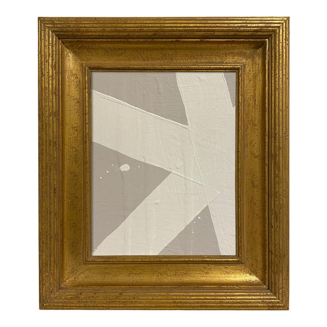 Ron Giusti Mini Abstract Grey Cream Painting, Framed For Sale