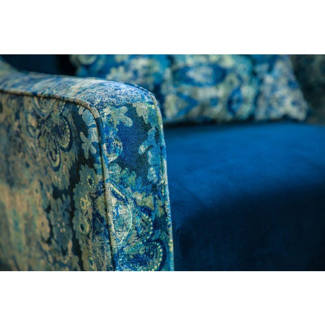 Charles Blue Mixed Media Armchair - Image 3 of 3