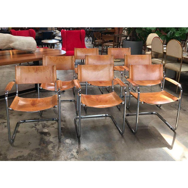 Italian Mart Stam Ten Italian Leather Armchairs, 1950s For Sale - Image 3 of 11