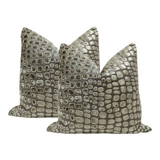 "20"" Crocodile Cut Velvet Pillows - a Pair For Sale"