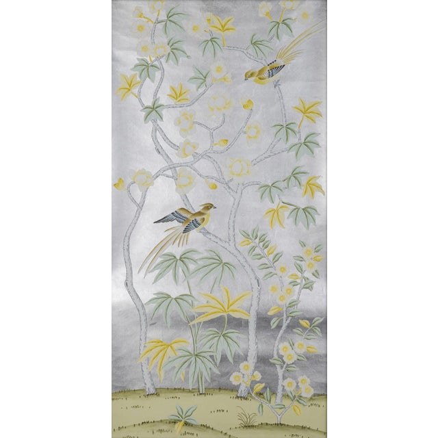 """Asian Jardins en Fleur """"Hampshire"""" Hand-Painted Chinoiserie Silk Diptych, Out of Production - 2 Pieces For Sale - Image 3 of 5"""
