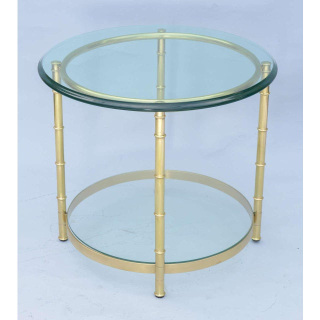 Gold Polished Brass Faux Bamboo End Table For Sale - Image 8 of 11