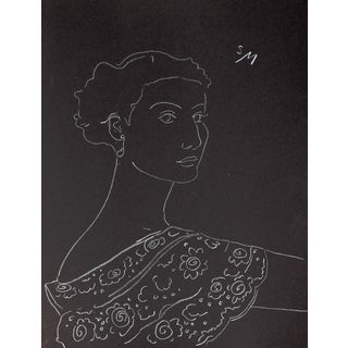 """Lady With a Lace Collar"", White Charcoal Drawing by Sarah Myers For Sale"