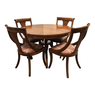 Vintage Wood Dining Table + Four Chairs - Dining Set