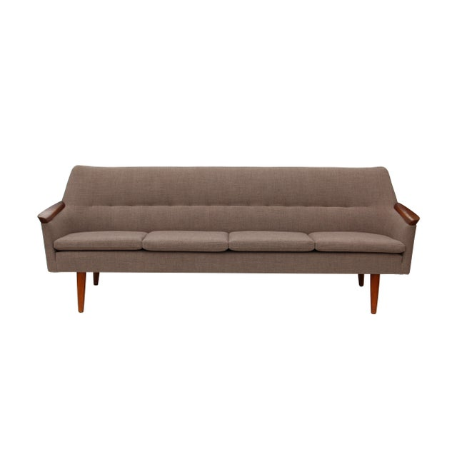 Norwegian Sofa with Sculpted Solid Teak Details For Sale - Image 9 of 12