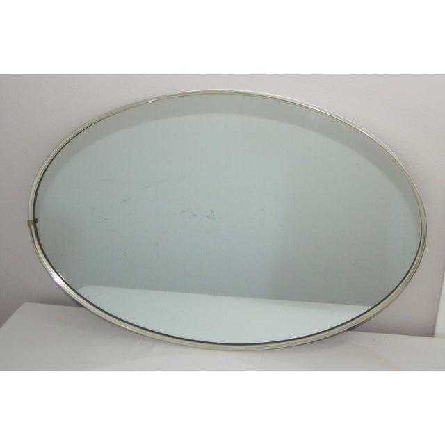 Mid 20th Century Mid-Century Modern Turner Mfg. Oval Chrome Mirror For Sale - Image 5 of 13