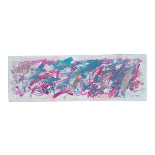 Pink and Green Graffiti Abstract Acrylic Painting on Canvas For Sale