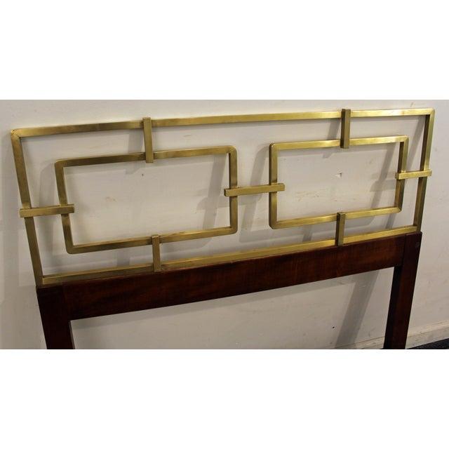 Mid-Century Modern Hollywood Regency Kittinger Brass/Walnut Twin Size Headboard - Image 6 of 11