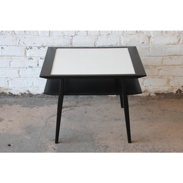 Bertha Schaefer for Singer & Sons Ebonized Mid-Century Modern End Tables- A Pair For Sale - Image 10 of 13