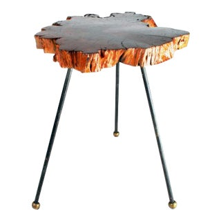 Organic Cypress Tree Slab Tripod Table For Sale