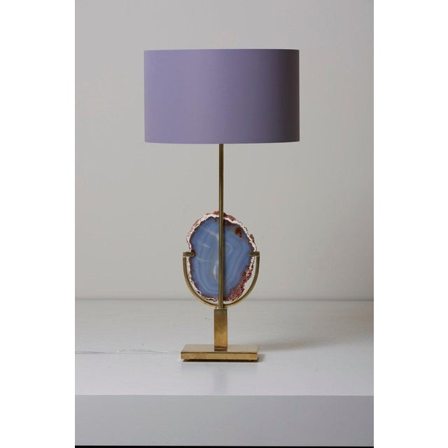 Pair of Stunning Agate Stone and Brass Table Lamps in the Manner of Willy Daro For Sale - Image 4 of 9