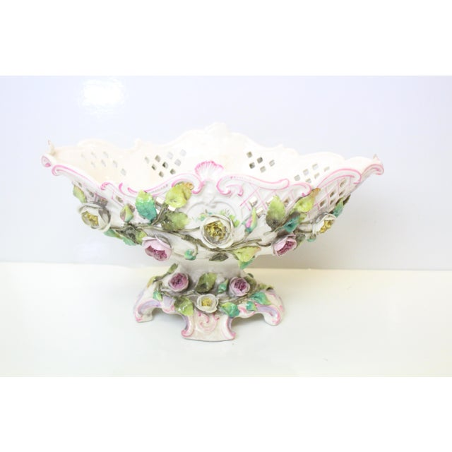 Ceramic Early 20th Century Floral Pottery Footed Boat For Sale - Image 7 of 7
