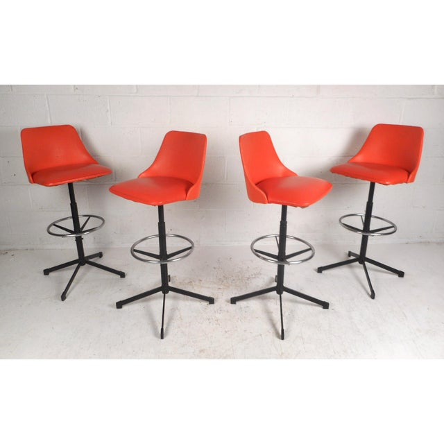 Set of Four Mid-Century Modern Swivel Bar Stools For Sale - Image 13 of 13