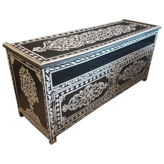 Moroccan Hand-Painted Black and White Wooden Media Stand For Sale