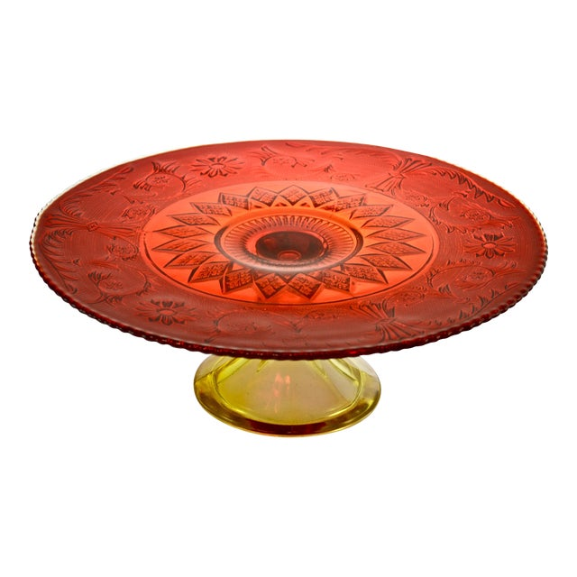Red & Yellow Amberina Pedestal Cake Stand For Sale