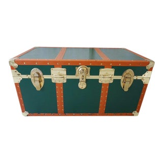 Cedar Lined Faux Leather Steamer Trunk Coffee Table For Sale
