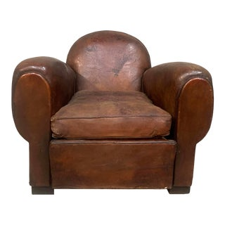 1940s Vintage French Leather Club Armchair For Sale