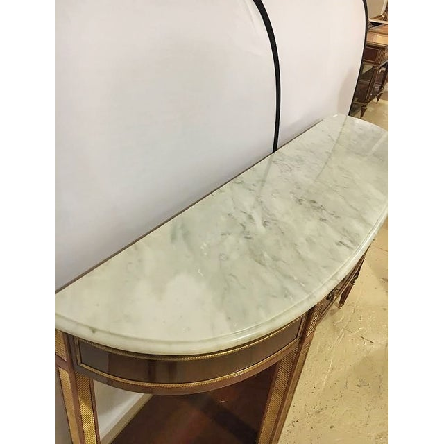 Marble Top Demi Lune Console Tables - Pair - Image 5 of 7