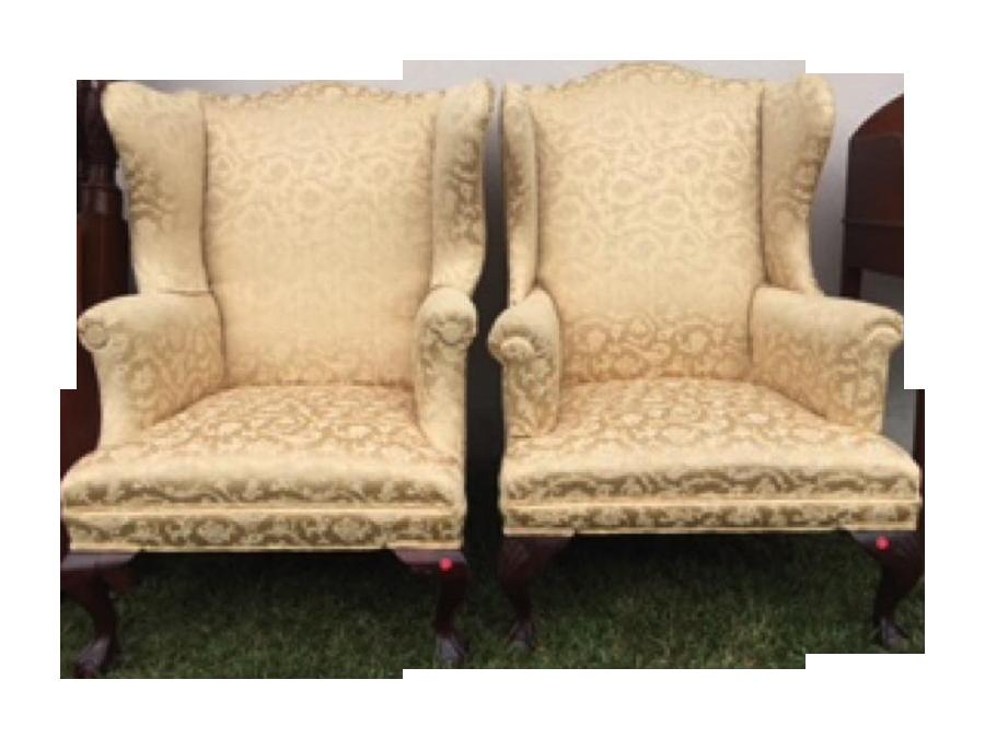 Antique Wing Chairs Circa 1850   A Pair