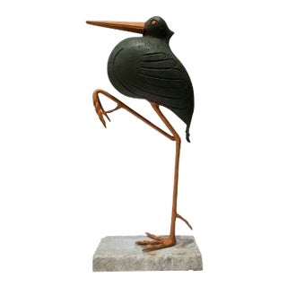 Painted Metal Crane Garden Sculpture For Sale
