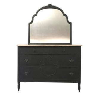 1940s Empire Black Vintage Dresser With Mirror