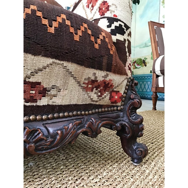 Antique French Serpentine Sofa Upholstered in Antique Karabagh Peacock Kilms For Sale - Image 9 of 13