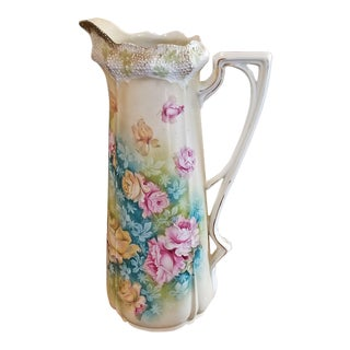 Large Moriage Art Nouveau Style Jug/Pitcher For Sale