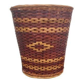 Vintage Woven Wicker Basket For Sale