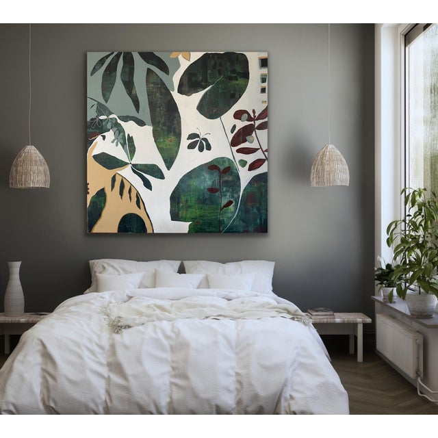 Dark Green Large Scale Original Painting For Sale - Image 8 of 11