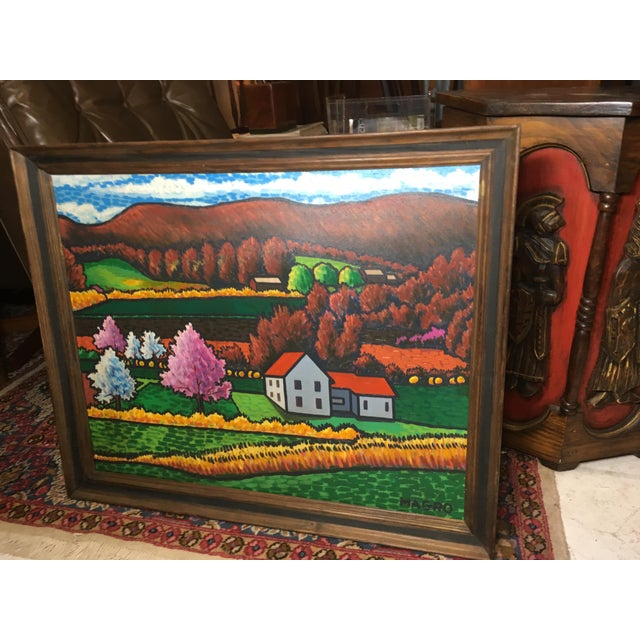 Late 20th Century Fall Landscape Oil on Canvas Painting For Sale - Image 4 of 8