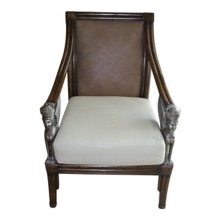 Egyptian Revival Cane and Leather Armchair With Sphinx Arms For Sale