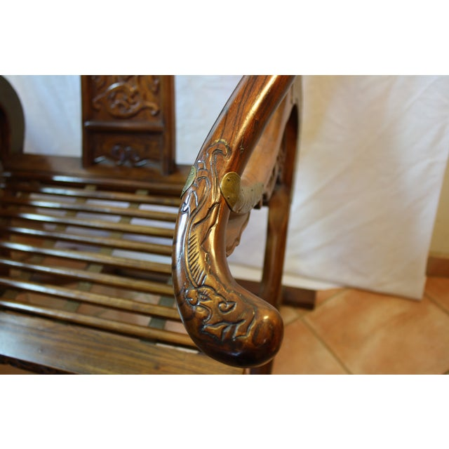Chinese Carved Rosewood Folding Chairs - A Pair - Image 7 of 11