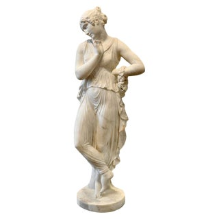 19th Century Neoclassical Carved Marble Statue of Canova's Dancing Woman For Sale