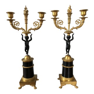 Vintage French Empire Style Putti Candelabras - a Pair