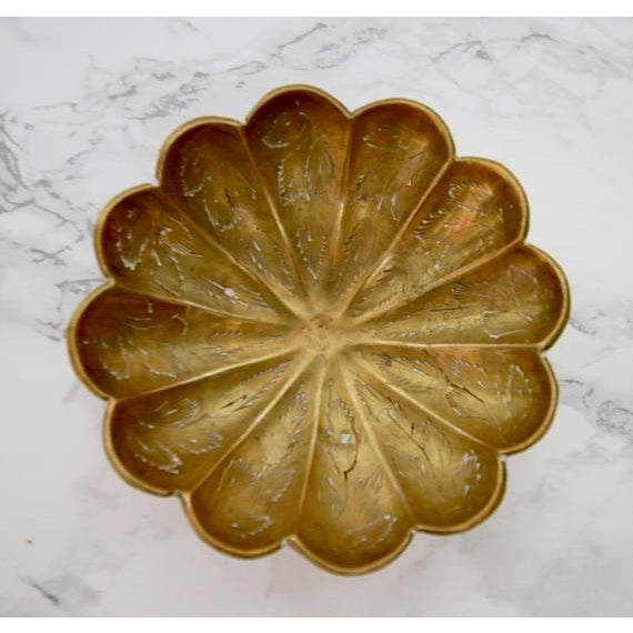 Vintage Brass Scalloped Coin Dish Bowl - Image 3 of 4
