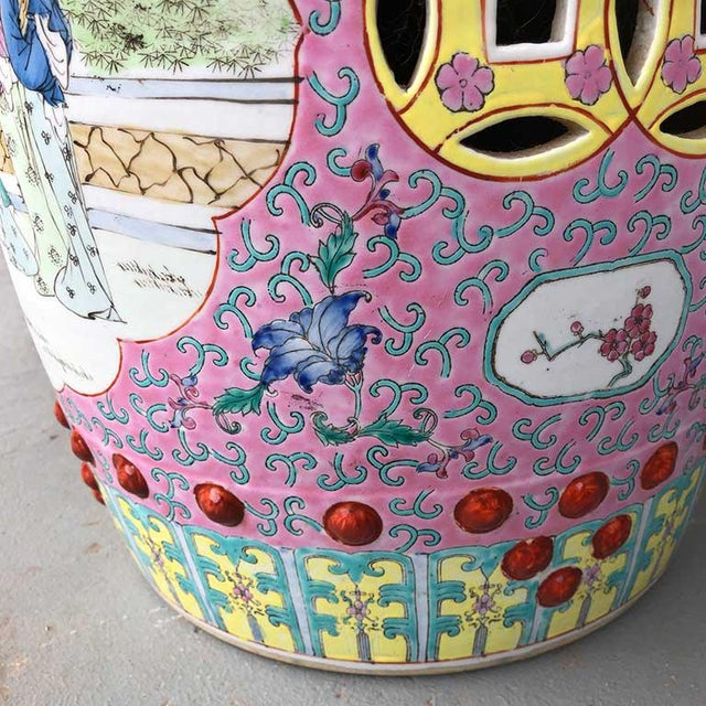 1960s 1960s Chinoiserie Chinese Famille Rose Pink Yellow Ceramic Garden Seat Stool For Sale - Image 5 of 10